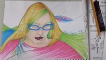 """Fly'n Gypsy Self Portrait"", 9 x 12"", Pigment Marker on Bleed-Proof Paper"