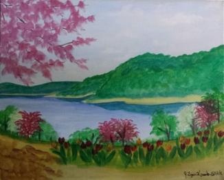 lake-flowering-trees